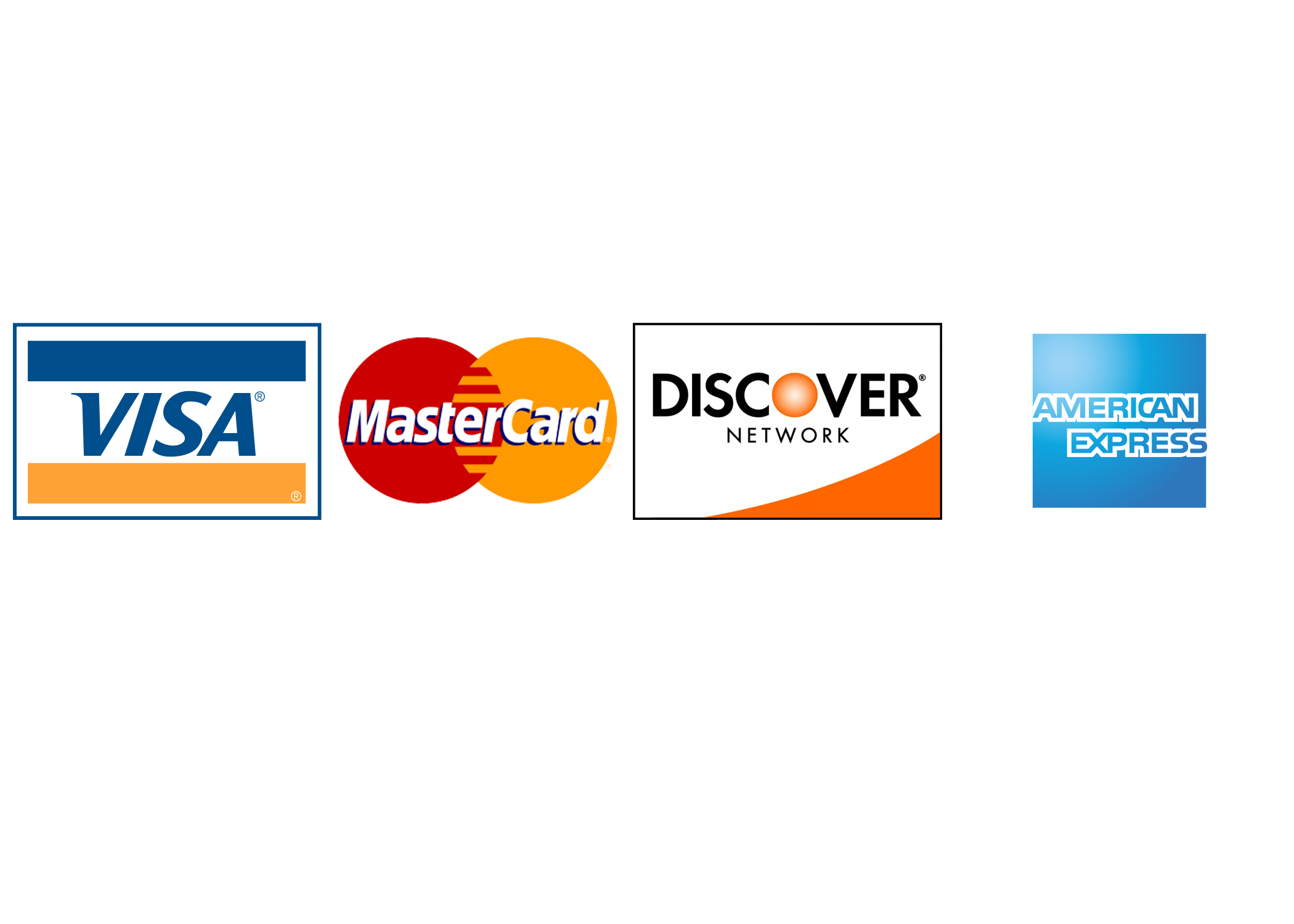 Images of accepted credit cards